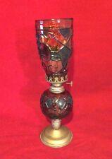 """Vintage Lamp Light KEROSENE OIL Orange Stain Glass Shade 12"""""""