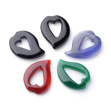 5Pcs Dyed Natural Agate Heart Pendants Charms For Jewelry Making 40x31x4.5~5mm
