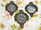 Vintage Italian Small Ornate Framed Mirrors and Floral Picture Trio - Italy