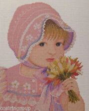 """GIRL WITH FLOWERS Counted Cross Stitch Kit - Size 9.5"""" x 11.5"""" - FREE SHIPPING"""