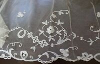 "Vtg Antique Lace Brussels Applique Net Veil or Shawl Edging 11.5 x 125"""
