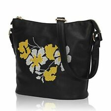 Hazlmay Susanna Floral Embroidered Faux Leather Women's Crossbody Handbag BLACK