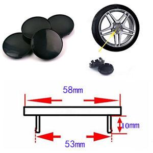 4Pcs 58mm/ 53mm Black ABS Plastic Car SUV Wheel Center Hub Caps Decorative Cover