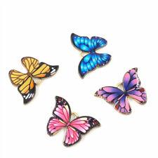 10-pack Assorted Enamel Metal Gold Butterflies Charms Pendants Findings 22x16mm