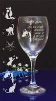 Personalised Engraved It's not drinking alone if cat is home Wine Glass 118