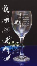 Personalizzato Inciso non bere da solo, se è Gatto Casa Vino in Vetro 118