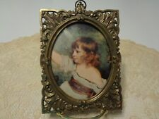Vintage Small Victorian Metal Frame & Print Made In Italy Convex Bubble Glass