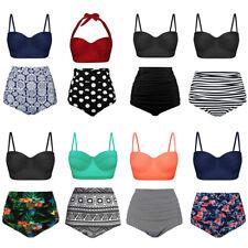 Women Retro Swimsuit High Waisted Bottom Bikini Set Summer Swimwear Two Pieces