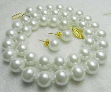 """100% Real AAA 10mm White Sea South Shell Pearl Necklace 18"""" Earring"""