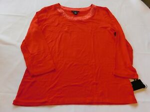Nue Options Women's Ladies 3/4 Sleeve T Shirt Top 667 Flame Red 43551 NWT