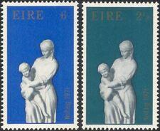 Irlanda 1971 Natale/Saluti/MADONNA/BAMBINO/STATUA/ARTE Set 2v (n14607c)