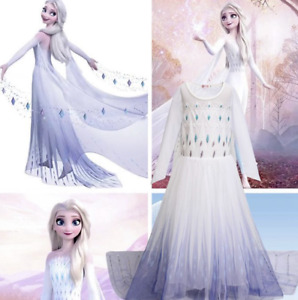 Elsa Dress Frozen 2 Girls Fancy Dress Cosplay Kids Costume Party Outfit NEW