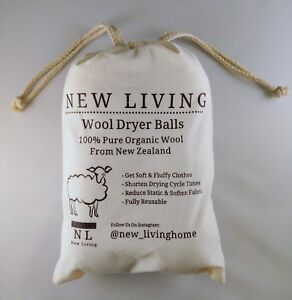 6 XL Dryer Balls & Bag 100% Organic New Zealand Wool Fabric SoftenerUK Seller