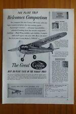5/1952 PUB CESSNA AIRCRAFT WICHITA AVION CESSNA 170 190 FLUGZEUG ORIGINAL AD