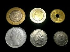 World Coin Lot - Australia, Japan, UAE,  Italy, India, Turkey Plus 2 Bonus Bills
