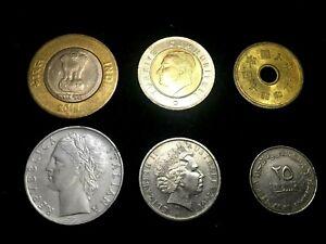 World Coin Lot - Australia, Japan, UAE,  Italy, India, Turkey Plus 2 Bonus Bills