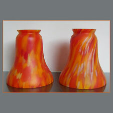PAIR VINTAGE ART DECO MARMOREAN BELGIAN GLASS LIGHT SHADES for sconce table lamp