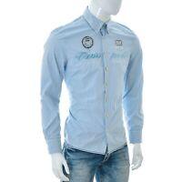 Gaastra Uomo Patch-Embroidered-Print Camicia Button Down Manica Lunga Blu Riga L
