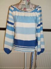 LADIES LONG SLEEVE, TOP. BLUE/OFF WHITE STRIPE.  SIZE MED . see pic
