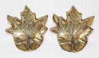 Pair of Brass Bookends Maple Leaf Book Ends Korea Brass Modern Style