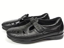 SAS ROAMER Black Leather Comfort Shoes Sz 10 N Mary Jane Sandals Womens T-Strap
