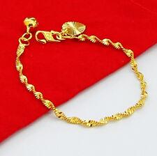 24K Gold Plated 2.5MM Wrest Snake Chain Baby Men Women Bracelet 6inch GJH025