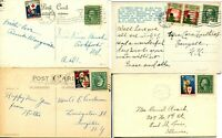 USA Christmas Seals Cancelled on Post Card Cover Set 1919 1920 1923 1924 Postage