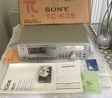 Vintage Sony Stereo Cassette Deck TC-K35 en Caja Con Manual Y Recibo Original
