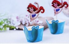 10 x Little Mermaid Ariel Cupcake Cup Cake Decorating,Toppers Wrapper DECORATION