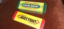 Juicy Fruit & Doublemint Tins with Hinged Lids: Empty & in Perfect Condition