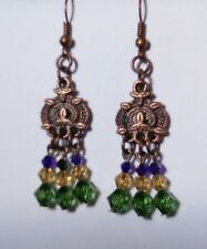 Copper colourfu greenl -  beaded dangle EARRINGS