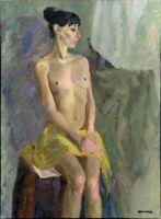 """Russischer Realist Expressionist Öl Leinwand """"Akt"""" 105 x 79 cm"""