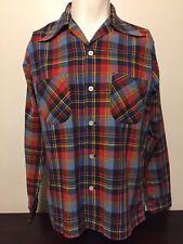 Vtg 1950s Manhattan Plaid Shirt L 46 Red Blue Button Down Rockabilly Long Sleeve