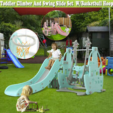 Toddler playground Swing Slide Set W/Basketball Hoop In/Outdoor Kids Playset Fun