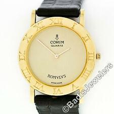 Estate Corum Romvlvs 18K Yellow Gold 30mm Round Thin Unisex Wrist Watch 5010156