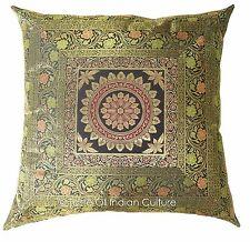 "Black 24"" Mandala Cushion Cover Handmade Brocade Floor Sofa Pillow Throw Decor"