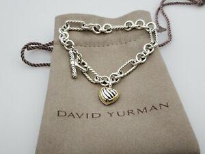 "David Yurman Sterling Silver 18k Gold Figaro Heart Charm Bracelet 7 1/4"""