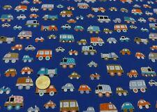 Baby Vans Hilco blau Baumwoll-Stretch-Jersey Kinderstoff Autos 25cm