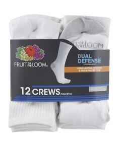 Fruit of the Loom Men's 'Dual Defense' 12 Pair White Crew Socks, Size 6-12