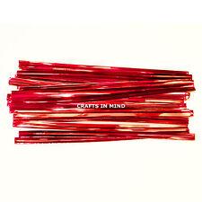 25 Rojo Metálico Twist lazos 10 Cm Para Cono Bolsas De Celofán party/cake 4 pulgadas del Reino Unido
