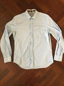 Burberry Cotton Longsleeve Shirt Size M Blue Great Condition