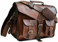 High-Quality Vinatge Leather Briefcase Large Messenger Satchel Laptop Office Bag