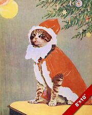 VINTAGE SANTA CAT CHRISTMAS KITTEN PET ANIMAL ART PAINTING REAL CANVAS PRINT