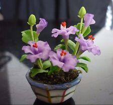 Purple Hibiscus Plant in Pot Dollhouse Miniatures Deco Garden