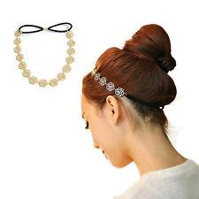 LC _Mode féminine Chaîne Métallique Bijou Creux Fleur Rose élastique à cheveux