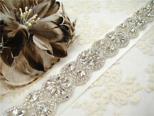 "Rhinestone Bridal Belt 18"" Crystal Sash Wedding Accessories Any Colour Ribbon"