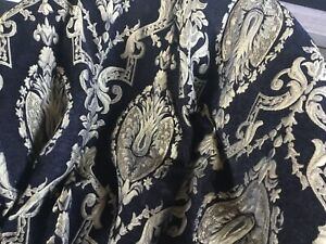 "Set Of 84"" BLACK VELVET GOLD brocade? Tapestry Curtains L01"