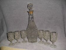 "Diamond Pattern 14"" T Clear Pressed Glass Decanter W/ 6 Stemmed Cordial Glasses"