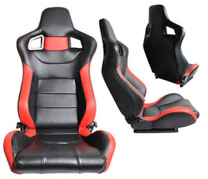 NEW 1 PAIR BLACK & RED PVC LEATHER RECLINABLE RACING SEATS FOR ALL FORD *****