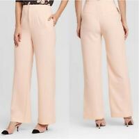 NWT Who What Wear Tapioca women stretch Rose Pink High Rise Wide Leg career pant